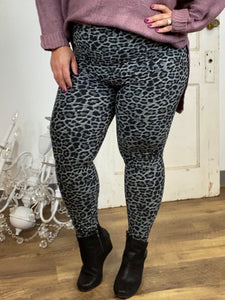 Grey Leopard Butter Ankle Leggings