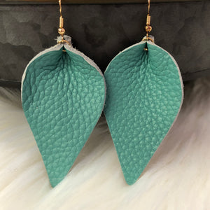 Turquoise Faux Leather Petal Earrings