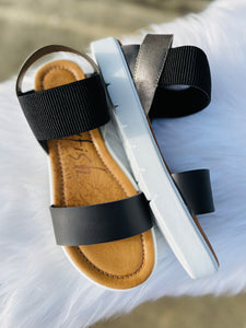 Black with Charcoal Boss Sandal