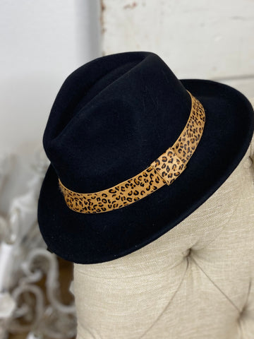 Wool Brim Hat with Leopard Accent  - Black