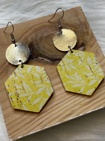Yellow with Daisy's Hexagon Earrings