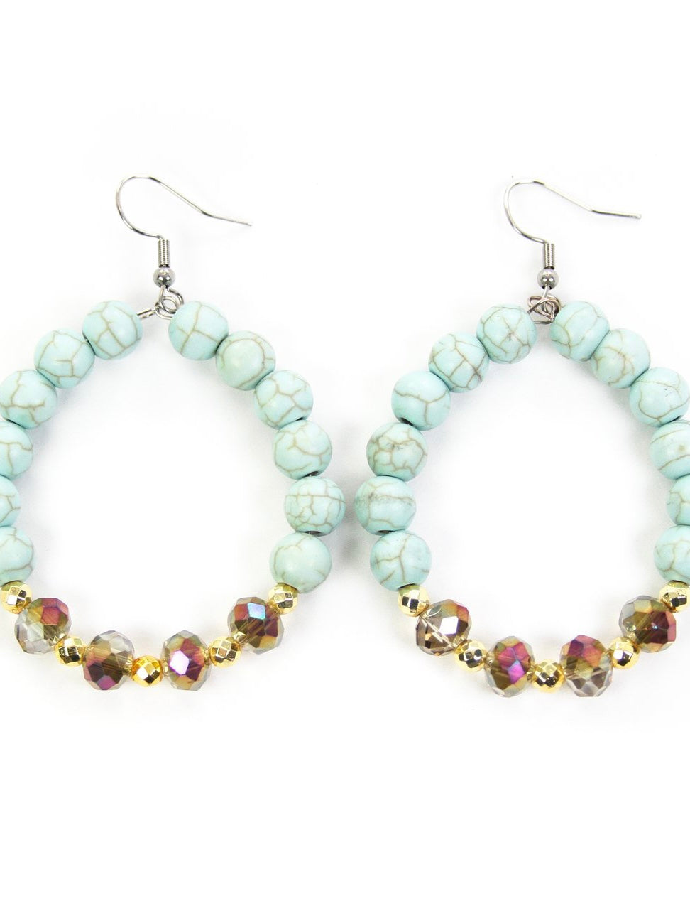 Turquoise & Gold Beaded Earrings