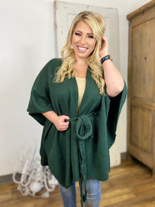 Hunter Green Belted Poncho Cardigan