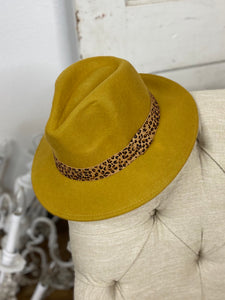 Wool Brim Hat with Leopard Accent  - Mustard