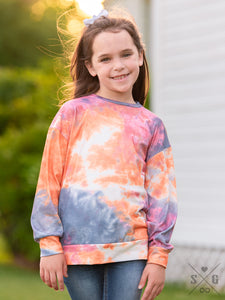 Girls Totally Chill Tie Dye - Sunset Long Sleeve Tee