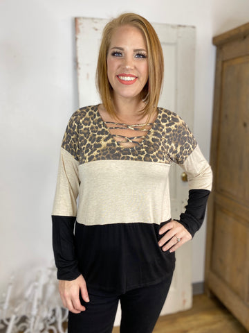 Leopard and Black Colorblock Top