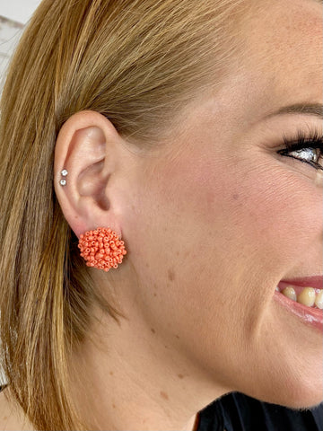 Coral Confetti Stud Earring