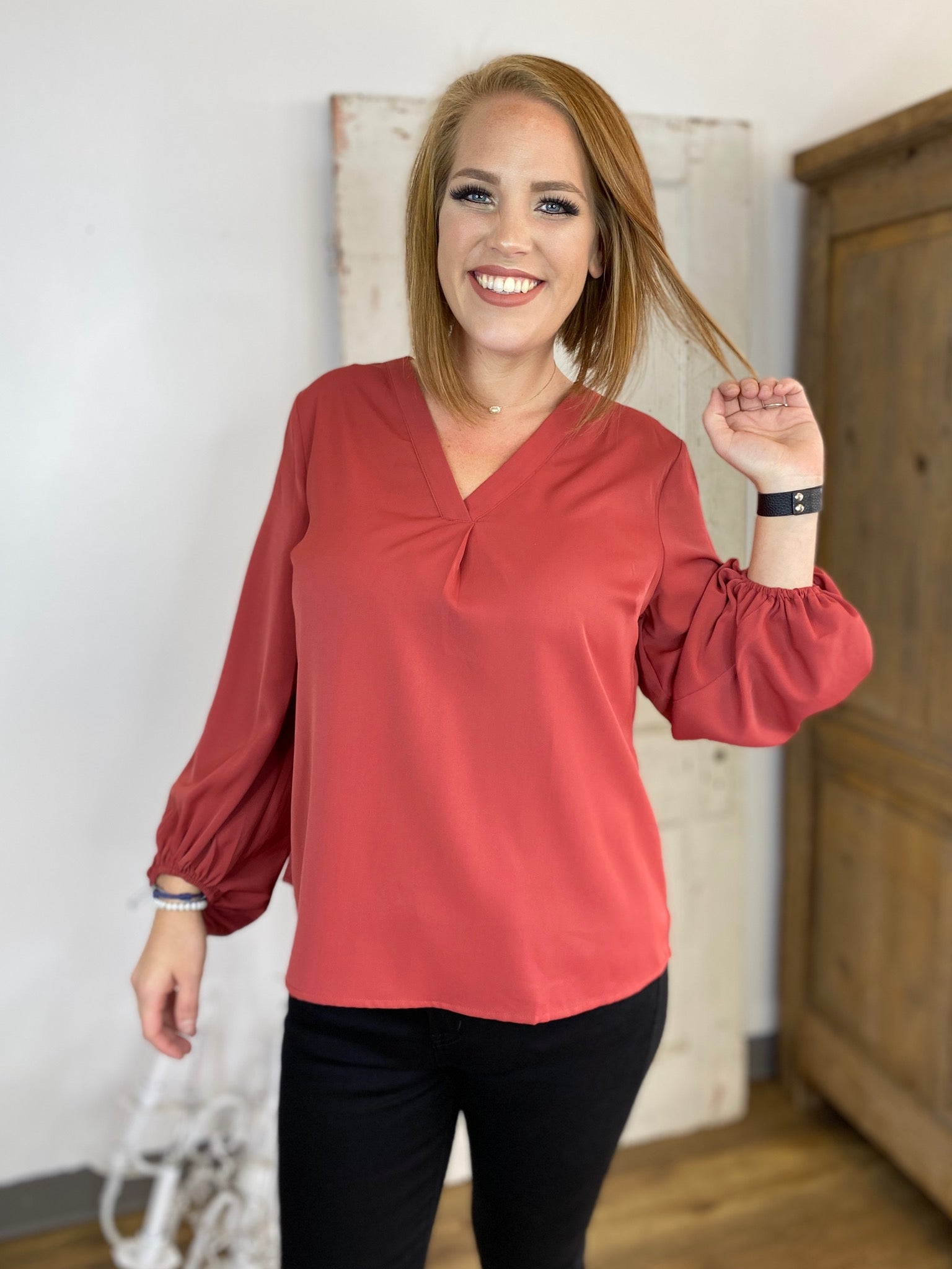 Rust V Neck Blouse with Bubble Sleeves
