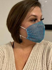 Light Blue Mesh Rhinestone Face Mask - Arrives Tues Jan 19th