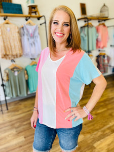 Coral & Pink Colorblock V Neck Tunic