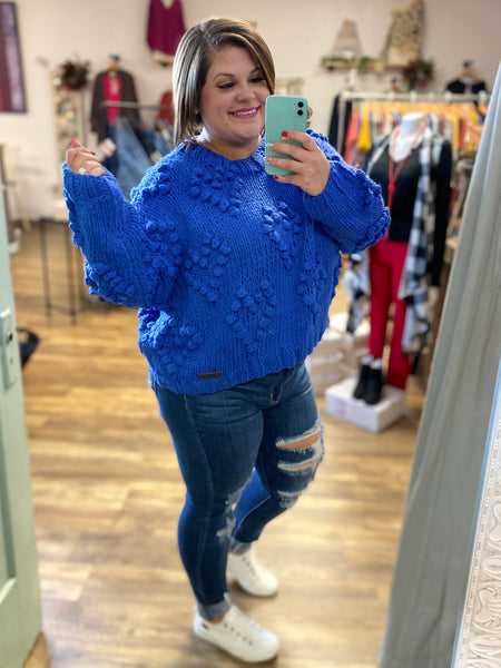 Blue Pom Pom Sweater