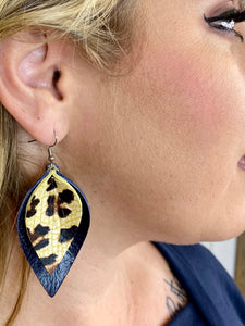 Navy & Leopard Layered Earrings