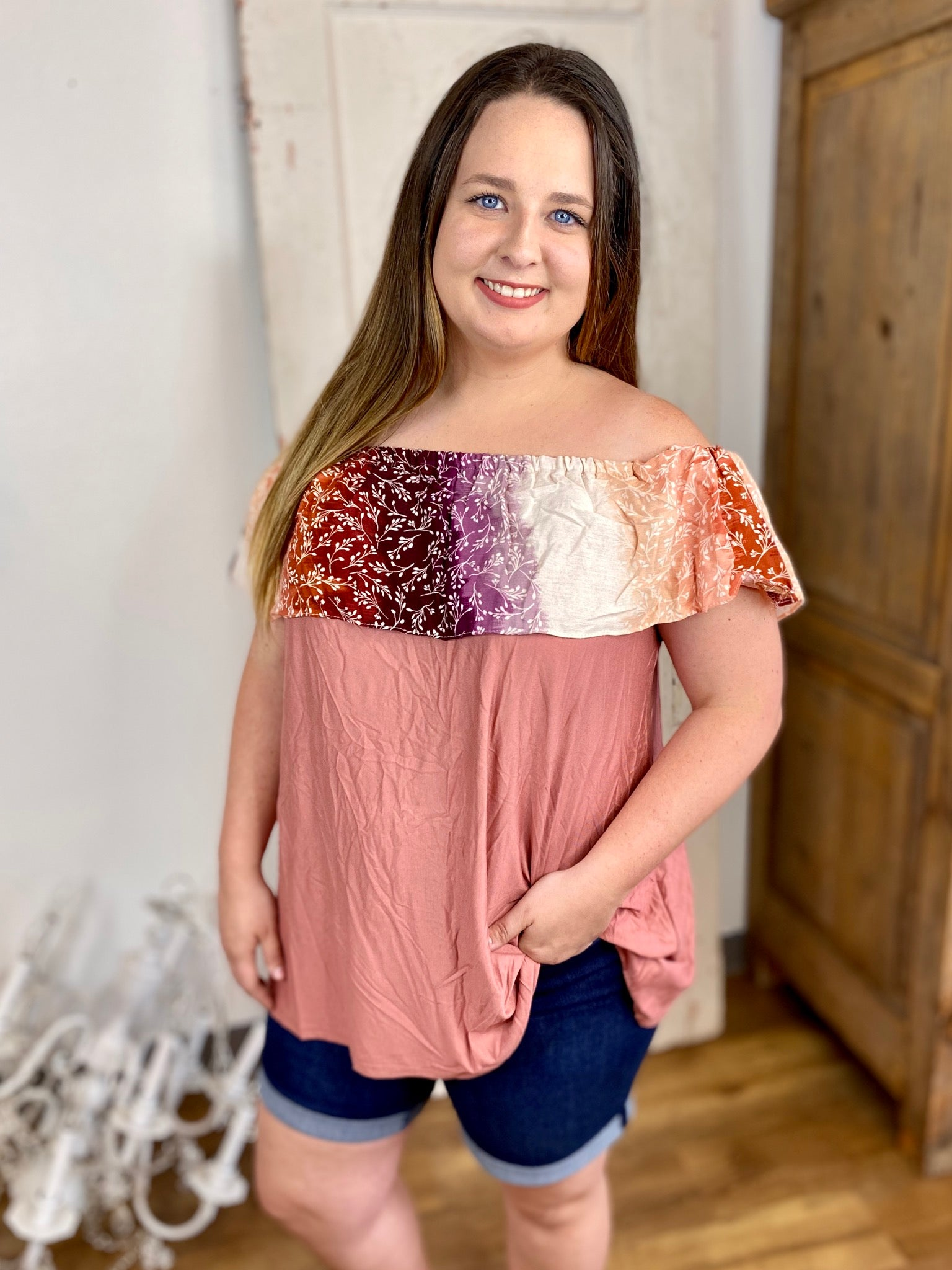 Brick Ombre Floral Off Shoulder Blouse