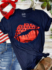 Patriotic Lips Tee - PRE ORDER (Arrives in approx 3 weeks)