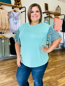 Seafoam Blouse with Leopard Bell Sleeves