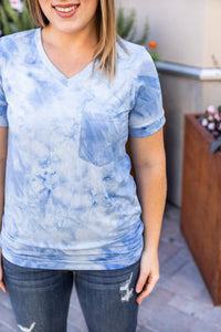Blue Classic Pocket Tee with V-Neck