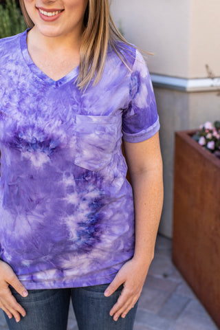 Purple Classic Pocket Tee with V-Neck