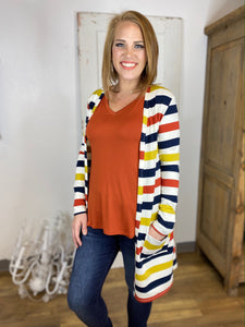 Multi Striped French Terry Cardigan