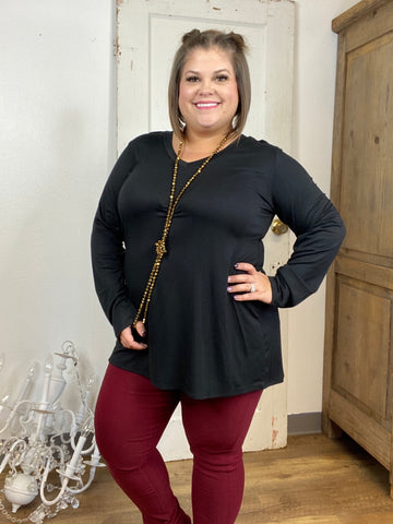 Black Long Sleeve V Neck Top