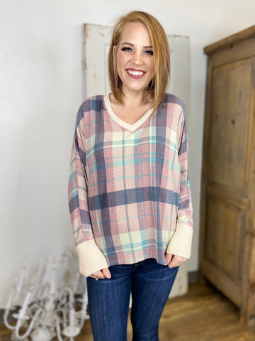 Pink Long Sleeve Plaid Knit Top