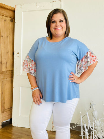 Denim Blue Blouse with Floral Bell Sleeve