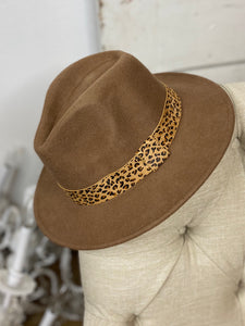 Wool Brim Hat with Leopard Accent  - Light Brown