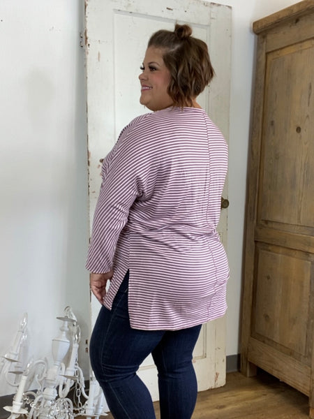 Dusty Rose Striped V-Neck Tunic Top with Dolman Long Sleeves