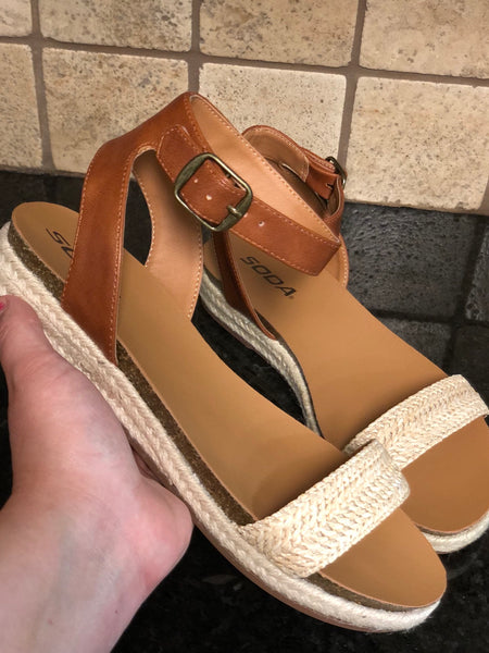 Tan Ankle Buckle Sandal with Braided Detail
