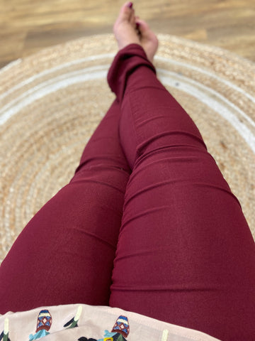 Burgundy Skinny Leg Teacher Pants