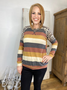 Mustard Multi Striped Sweatshirt with Leopard Sleeves