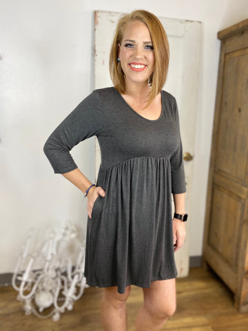 Long Sleeve Charcoal Babydoll Dress