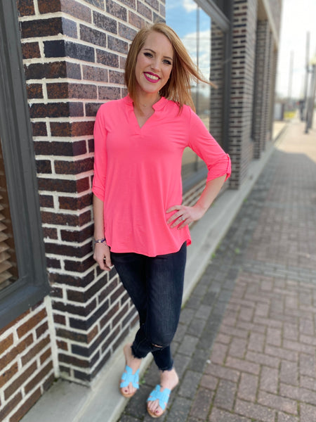 Neon Pink Gabby Top with 3/4 Sleeves