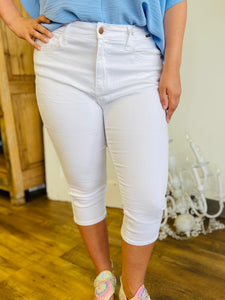 White Non Distressed Capris - Judy Blue