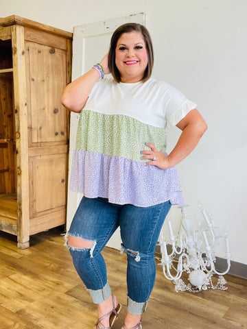 Purple and Green Ruffle Bottom Top