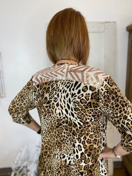 On The Prowl Leopard Kimono with Sequins Detail