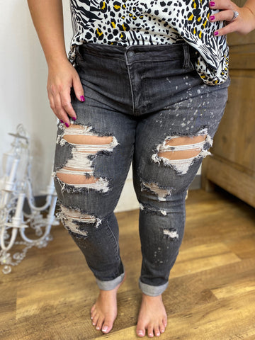 Black Bleach Splash Destroyed Boyfriend Jeans- Judy Blue