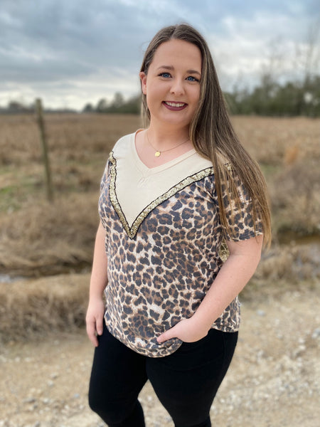 Leopard and Cream Chevron Blouse with Sequins