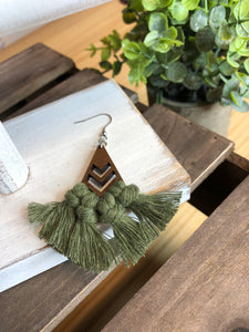 Triangle Chevron Olive Macrame Earrings