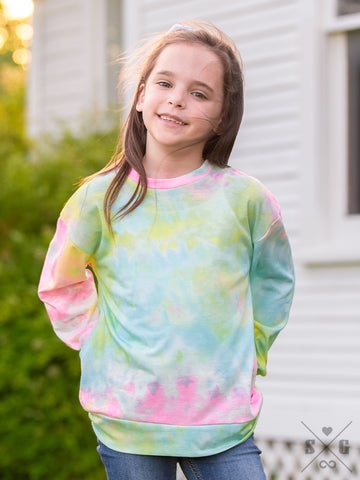 Girls Totally Chill Tie Dye - Cool Blue Long Sleeve Tee