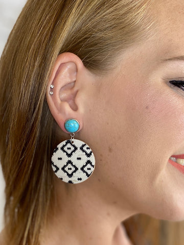 Blue Turquoise & Black Aztec Dangle Piggyback Earrings