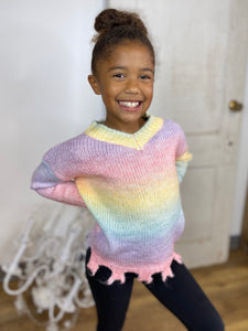 Girls Let's Go for Sherbet Fringe Sweater