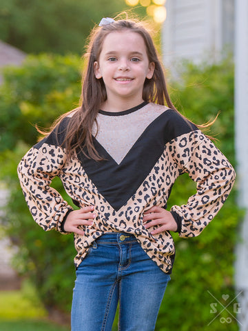 Girls Chevy Top with Leopard and Champagne Sequins