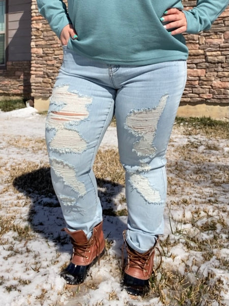 Light Wash Destroyed Boyfriend Jeans- Judy Blue