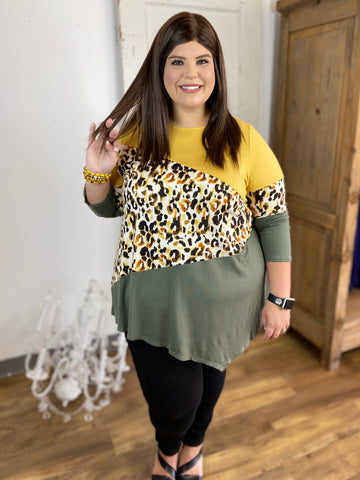 Olive/ Mustard Cheetah Top with Asymmetrical Design