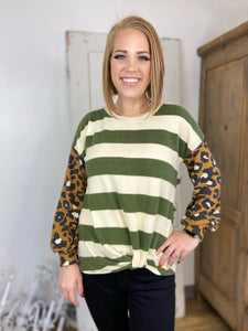 Olive/Camel Animal Print Striped Colorblock with Front Twist Knot