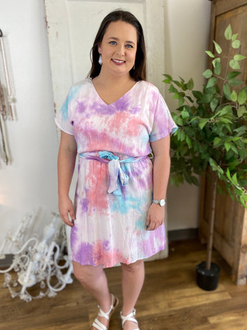 Multi Color Tie Dye Dress with Tie Waist