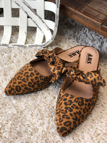 Leopard Pointed Toe Flats with Bow