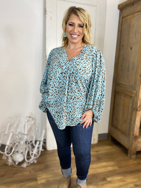 Dusty Blue V Neck Blouse with Bubble Sleeves