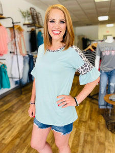 Dusty Mint Ruffle Sleeve Blouse with Leopard