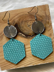 Aqua Hexagon Earrings